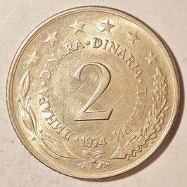 Yugoslavia 2 Dinara 1971-1981 KM#57