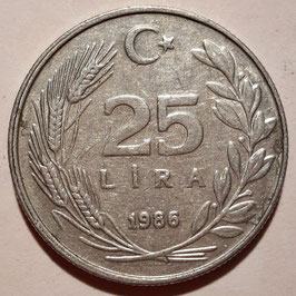 Turkey 25 Lira 1985-1989 KM#975