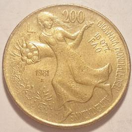 Italy 200 Lire 1981 KM#109 XF - F.A.O. - World Food Day
