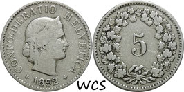 Switzerland 5 Rappen 1879-1980 KM#26