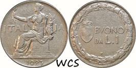 Italy 1 Lira 1922-1935 KM#62