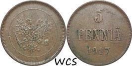 Finland 5 Penniä 1917 Cevil War KM#17 VF