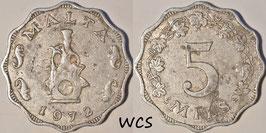Malta 5 Mils 1972 KM#7