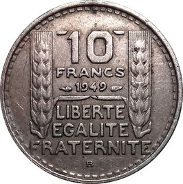 France 10 Francs 1947-1949 Beaumont-le-Roger, small head KM#909.2