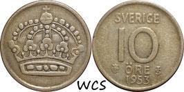Sweden 10 Öre 1953 TS KM#823 VF (2)