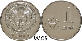 Kyrgyzstan 1 Som 2008 KM#14