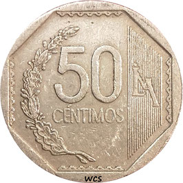 Peru 50 Centimos 1991-2019 KM#307.4