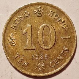 Hong Kong 10 Cents 1985-1992 KM#55