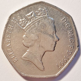 Great Britain 50 Pence 1997 KM#940.2 VF (small type)