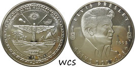 Marshall Islands 5 Dollars 1993 R KM#124 Prooflike - Elvis Presley