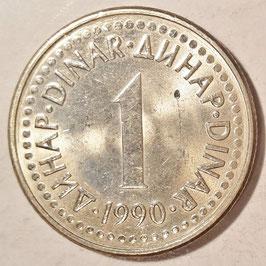 Yugoslavia 1 Dinar 1990-1991 KM#142