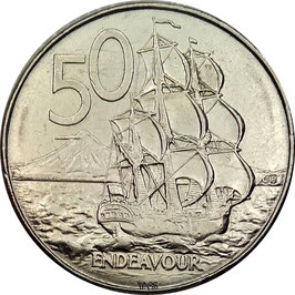 New Zealand 50 Cents 1988 (c) variant with missing rope KM#63 VF