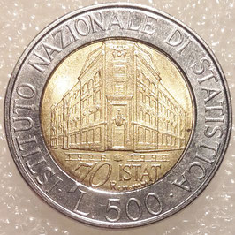 Italy 500 Lire 1996 KM#181 XF - 70th Anniversary - National Institute of Statistics