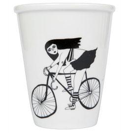 Becher Radfahrerin
