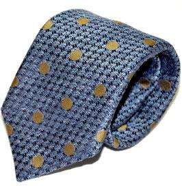Krawatte | Polka Dot mittelblau/beige | 8 cm