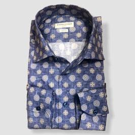 Bedrucktes Hemd VECTOR, blau/beige