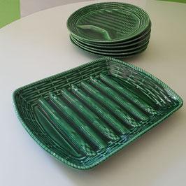Spargelservice 7-teilig aus Keramik grün