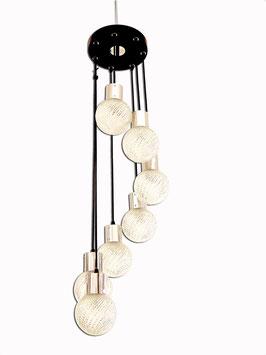 Hängeleuchte / Kaskadenlampe mit Kugeln aus Glas 60er/70er