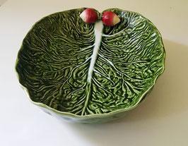 Schale in Blattform aus Keramik grün