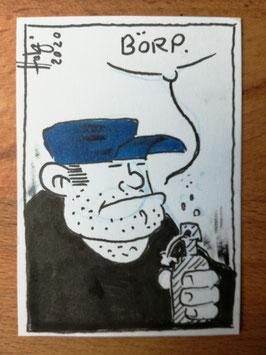 """Holger Bommer: Minizeichnung Trucker """"Börp."""""""