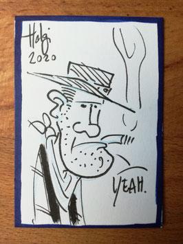 """Holger Bommer: Minizeichnung Cowboy """"Yeah."""""""