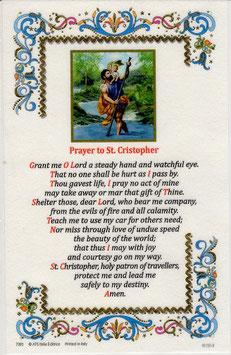 イタリア 羊皮紙 祈りカード 英語 聖クリストファー 7393