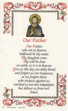 イタリア 羊皮紙 祈りカード英語 主の祈り Our Father 6671