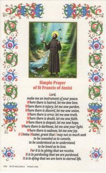 イタリア 羊皮紙 祈りカード英語 アッシジの聖フランシスコ 平和の祈りB   7372