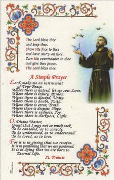 イタリア 羊皮紙 祈りカード英語 アッシジの聖フランシスコ 平和の祈りA 6666