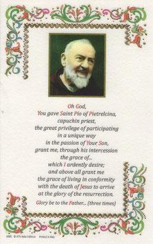 イタリア 羊皮紙 祈りカード英語 聖ピオ神父への祈り Oh God! 6925