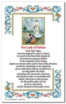 イタリア 羊皮紙 祈りカード英語 ファティマの聖母 8960