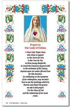 イタリア 羊皮紙 祈りカード英語 ファティマの聖母ハート 7366