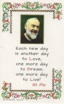 イタリア 羊皮紙 祈りカード英語 聖ピオ神父の祈り Each new day 7242