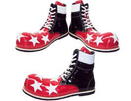 Botitas Estrelladas Blancas en Fondo Rojo y Negro