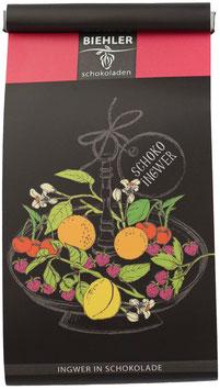 Ingwer, Früchte, Mandeln oder Kakakaobohnen in Schokolade