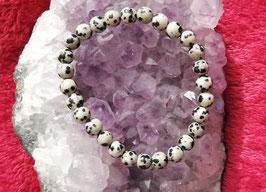 Bracelet en Jaspe Dalmatien 6 mm / 8 mm