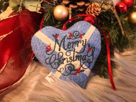 "Anhänger ""Merry Christmas"" aus Harris Tweed (blau)"