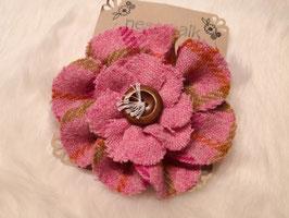 Blumenbrosche aus Harris Tweed (rosa)