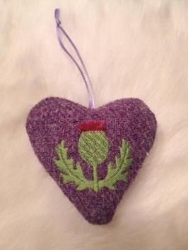 Herzchen-Anhänger Distel aus Harris Tweed (lila)