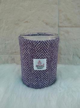 Kerze Harris Tweed (lila-weiß Heringbone)