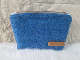 Kosmetiktasche aus Harris Tweed  (royalblau)