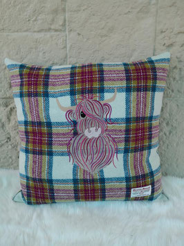 Kissen Harris Tweed (Highland Cow plum)