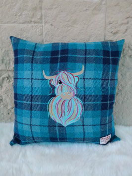 Kissen Harris Tweed (Highland Cow bunt - karo)