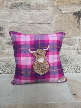 Kissen Harris Tweed Highland Cow / Hochland Kuh (pink)