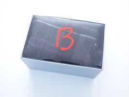 Schal grau-aubergine 100% Wolle in Geschenkbox