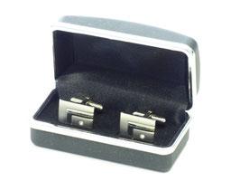 Manschettenknöpfe silber mit Stein in Box