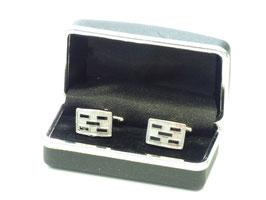 Manschettenknöpfe silber-schwarz in Box
