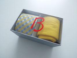 Herrenset Krawatte mit passender Socke gelb in Geschenkbox