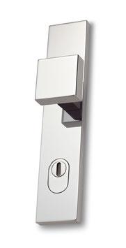 WERKBUND Bauhaus Sicherheitsgarnitur mit Langschildern und, in seiner Form puristischen Natur aber etwas kantig zu greifendem, quadratischen Knopf mit ebenso quadratischem Knopfhals