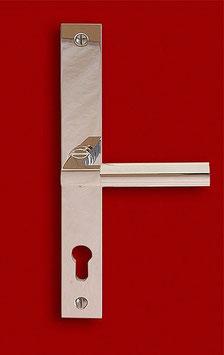 MEISTERHAUS 1925 S  Bauhaus Schmalrahmen Sicherheitsgarnitur mit Langschildern und gebogen gekröpftem Griff